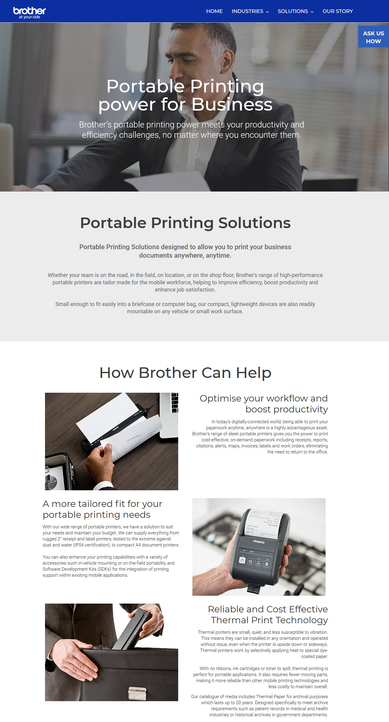 Brother Printers Corporate Microsite